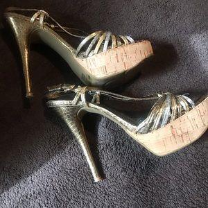 BCBG Metallic platform sandals